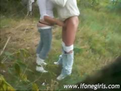 Blonde teen doing it outdoor